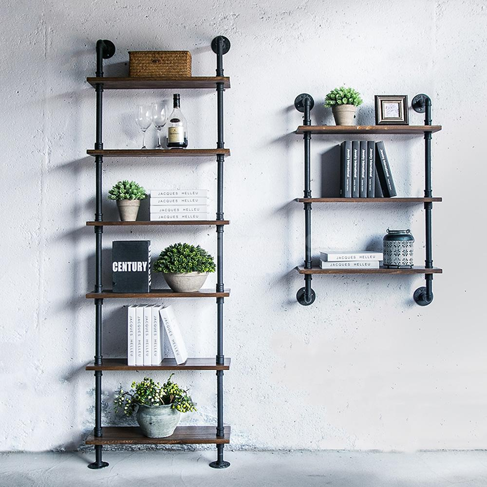 Very 3-Tier Industrial Rustic Iron Pipe Wall Shelf DIY Ladder Bookcase  GW96